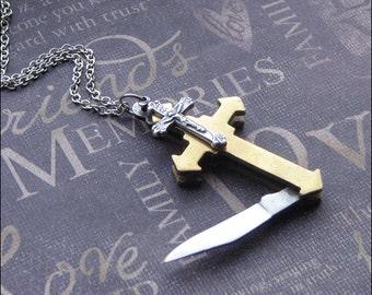Vintage Cross Knife Necklace - Enchanted Faith - Jewelry by TheEnchantedLocket - COOL Boyfriend Wedding Groomsmen Unisex Gift