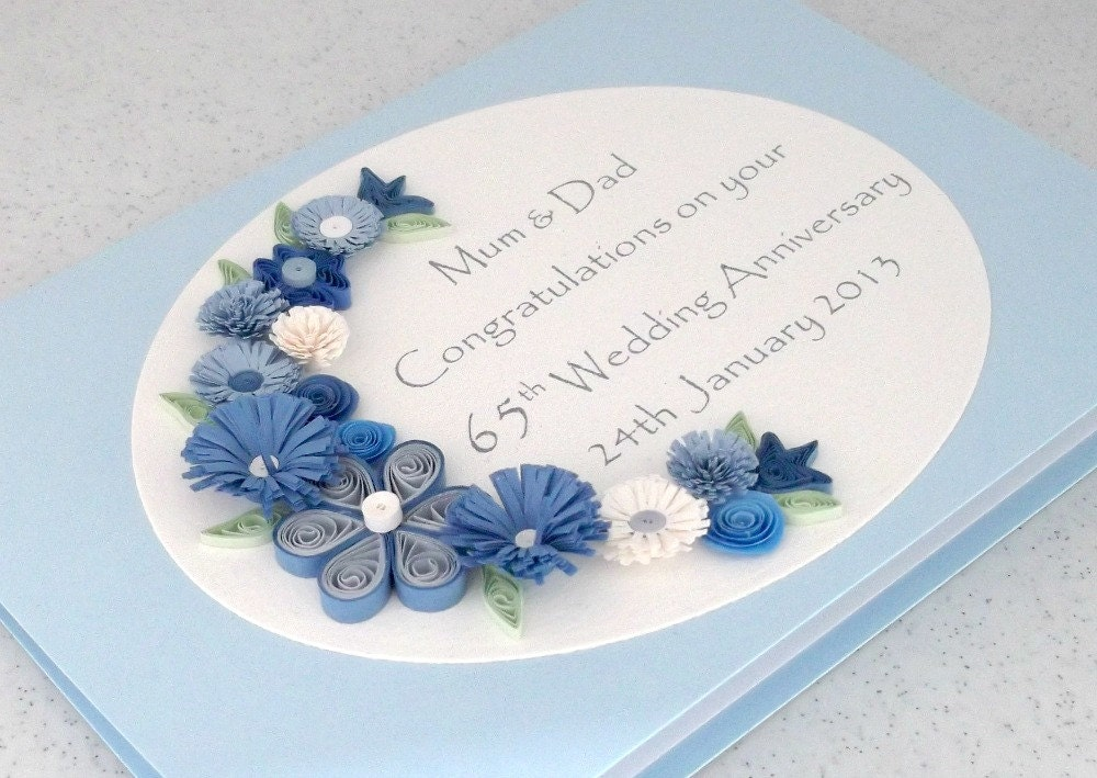 quilled 65th sapphire wedding anniversary card by paperdaisycards. Black Bedroom Furniture Sets. Home Design Ideas