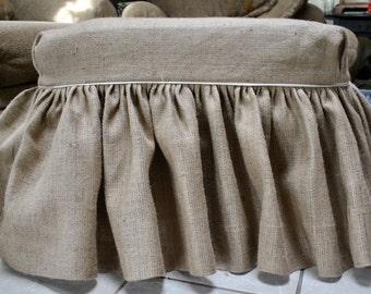 Burlap Ottoman Slipcover