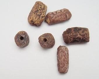 Primitive Ceramic Beads, Tubular beads, Stoneware, Rustic Bead, Tube Bead,, Funky Beads, OOAK