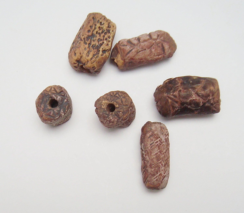 Ceramic Bead Beads: Primitive Ceramic Beads Tubular Beads Stoneware Rustic