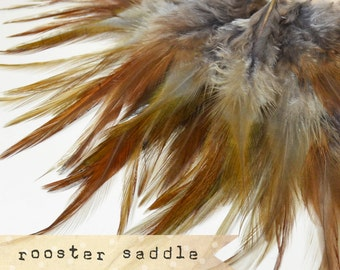 50 pcs+ - GREY - Rooster Saddle feathers - 2 inch strip - two-tone, pointy tip, shiny feathers, exotic feathers (RS013)