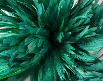 25-30pcs Rooster Tail Satinette Feathers-Kelly Green