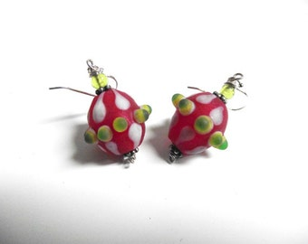 Flame Worked  Earrings in Red,Green, Christmas Earrings, Hand made glass bead earrings