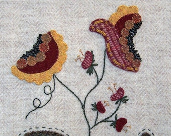 Jacobean Flower Wool Applique,  Hand Embroidery / Pattern / Jac 005