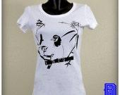 Cute white panda and bird illusion t shirt. women's scoop neck tshirt