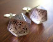 D20 dice cuff links gamers wedding cufflinks geek rpg elf runes elvish die black white fantasy inscriptions men dudes