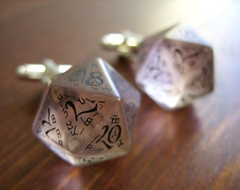 D20 dice cuff links gamers wedding cufflinks geek rpg elf runes elvish die black white fantasy inscriptions men dudes