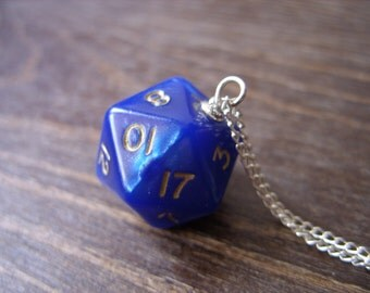 dice dungeons and dragons pendant dice pendant D20 pendant dice jewelry dice necklace blue indigo blue cobalt blue dice