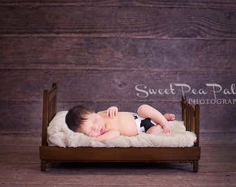 Newborn Baby Photography Prop Digital Backdrop for Photographers Wood Bed