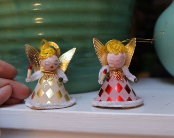Christmas Angels Tree decoration Japan Spun Cotton 2 lot VINTAGE By Plantdreaming
