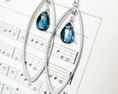 London Blue Topaz and Silver Earrings - Modern Simple Earrrings - Personalized Gemstone - Bridesmaid Jewelry