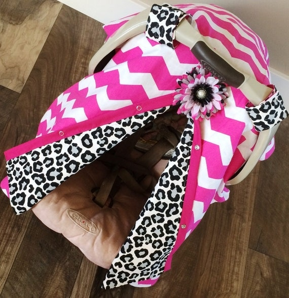 Items Similar To Carseat Canopy Hot Pink Chevron And