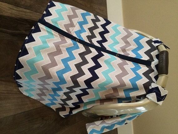 Car seat canopy Blues and Greys / car seat cover / nursing cover / carseat canopy / carseat cover