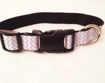 Dog Collar - Lavender Chevron - Choose your Size