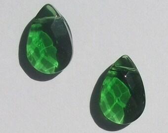 Clearance -- 2 Celestial Crystal Pendants 15mm TEARDROP Pendant crystal beads  GREEN