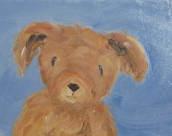Need a Hug. An 6 x 8 original oil painting on canvas board  by Yvonne Wagner. Teddy Bear. Brown Teddy. Stuffed bear. Bear art. Nursery art.