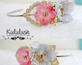 Bridal Floral Crown, head piece, wedding hair accessories, Vintage style head piece, Flower crown, Wedding headpiece