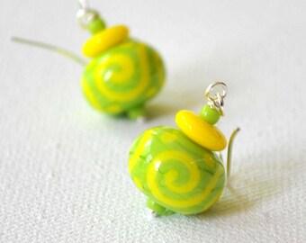 Fresh Green Lampwork Glass Earrings, Spring Colors, Yellow Scroll Pattern