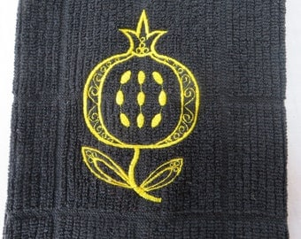 Black Dish Towel with  Embroidered  Pomegranate  Great for Jewish Holidays