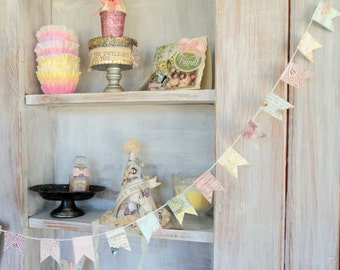 Little Bit of Happiness.  4 Yard Long Small Pennant Paper Banner Garland