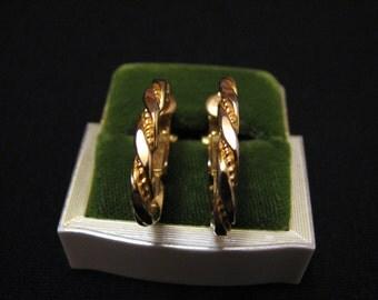 Vintage Gold Tone Twisted Hoop Clip Earrings
