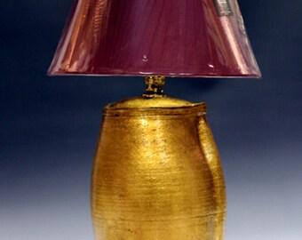 Lamp Bed side guilded imitation gold leaf and antiqued lamp base