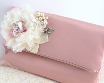 Clutch, Dusty Rose, Rose, Silver, Ivory, Elegant Wedding, Vintage Wedding, Bridal, Handbag, Bag, Purse, Bridesmaids, Satin, Lace, Pearls