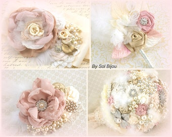 Brooch Bouquet, Groom Boutonniere, Sash, Hair Clip, Blush, Tan, Champagne, Ivory, Pearls, Crystals, Brooch, Feathers, Lace, Vintage Style