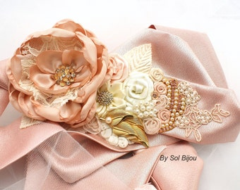 Wedding Sash, Rose, Blush, Ivory, Gold, Bridal, Jeweled Sash, Vintage Style, Elegant Wedding, Brooch, Lace, Pearls, Crystals, Satin