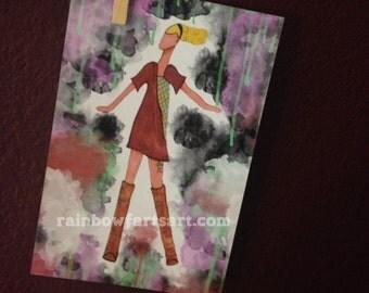 4x6, 5x7, 8x10 art PRINT - free as a bird - fashion illustration, boho, runway, bohemian, free spirit, girls room decor