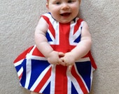 Royal Baby Baby/Toddler Reversible Union Jack Open Back Baby Top and Matching Ruffle Bum