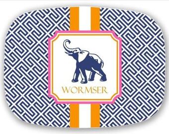 Personalized Melamine Platter--Chinoiserie Elephant