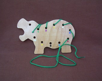Lacing/Sewing Card - Hippo