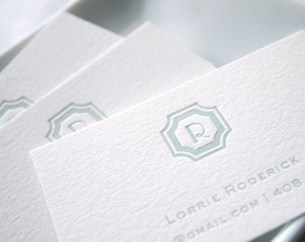 Regency Initials Letterpress Calling Cards - Personalized set of 100