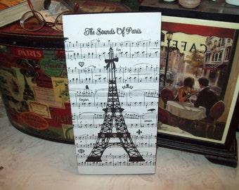 Large Sounds of Paris Eiffel Tower block sign Paris decor,shabby chic,Paris bedroom decor,French bedroom,Paris wall decor