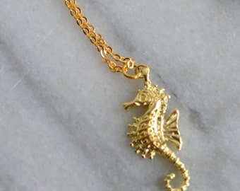 Gold Seahorse Necklace, Beach, Nautical, Summer, Ocean, Womens Jewelry, by ktnunna
