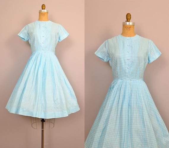 1950s dress / 50s blue gingham dress / Cotton Candy dress