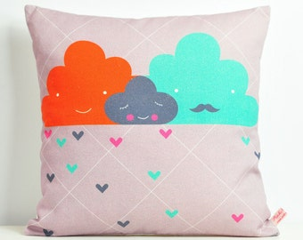 decorative throw pillow for kids room with clouds family in gray, orange and turquoise  - 12 inch / 30 cm