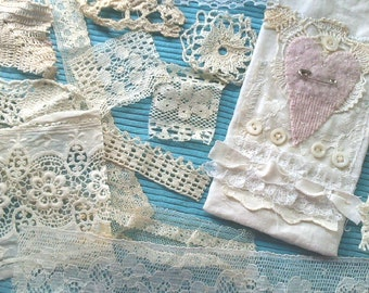 Vintage Lace Snippets for Embellishing Linen Bags Samplers 2 yards