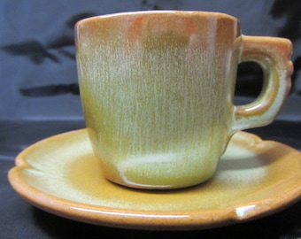 FRANKOMA Praire Green Brown  Cup and Saucer, Vintage Pottery Cup and Saucer, Small Coffee Cup and Saucer, Frankoma Pottery