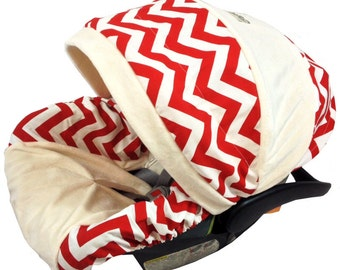 Red Chevron Infant  Car Seat Cover, Baby Car Seat Covers, Chevron Infant Car Seat Covers, Boy Car Seat Covers, Slipcovers by Ritzy Baby