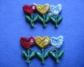 heart flower patch vintage jacket patch floral appliqué hippie patches new old stock