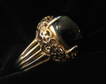 Sterling Silver Gold Vemeil Ring, Large Black Stone, Size 7