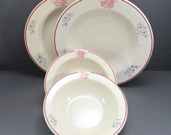 Set of 4 Disc Music Box and Musical Notes Vintage 1950s Record Player Restaurant China Bowls