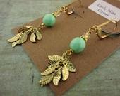 Golden leaf earrings, mint earrings, gold leaf, lever back