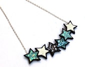 SALE Stars SIlver Necklace in Turquoise, Gunmetal and Baby Blue Glitter