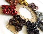 SALE Glitter Bow Shoe Clips - Fall Metalics Collection