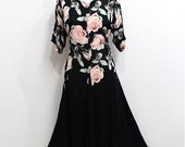 Vintage Black dress Exotic Pink floral Party gown Size XLarge
