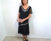 Vintage 20s dress, 1920s k Flapper Dress Black Chiffon Beaded Embroidered 18W